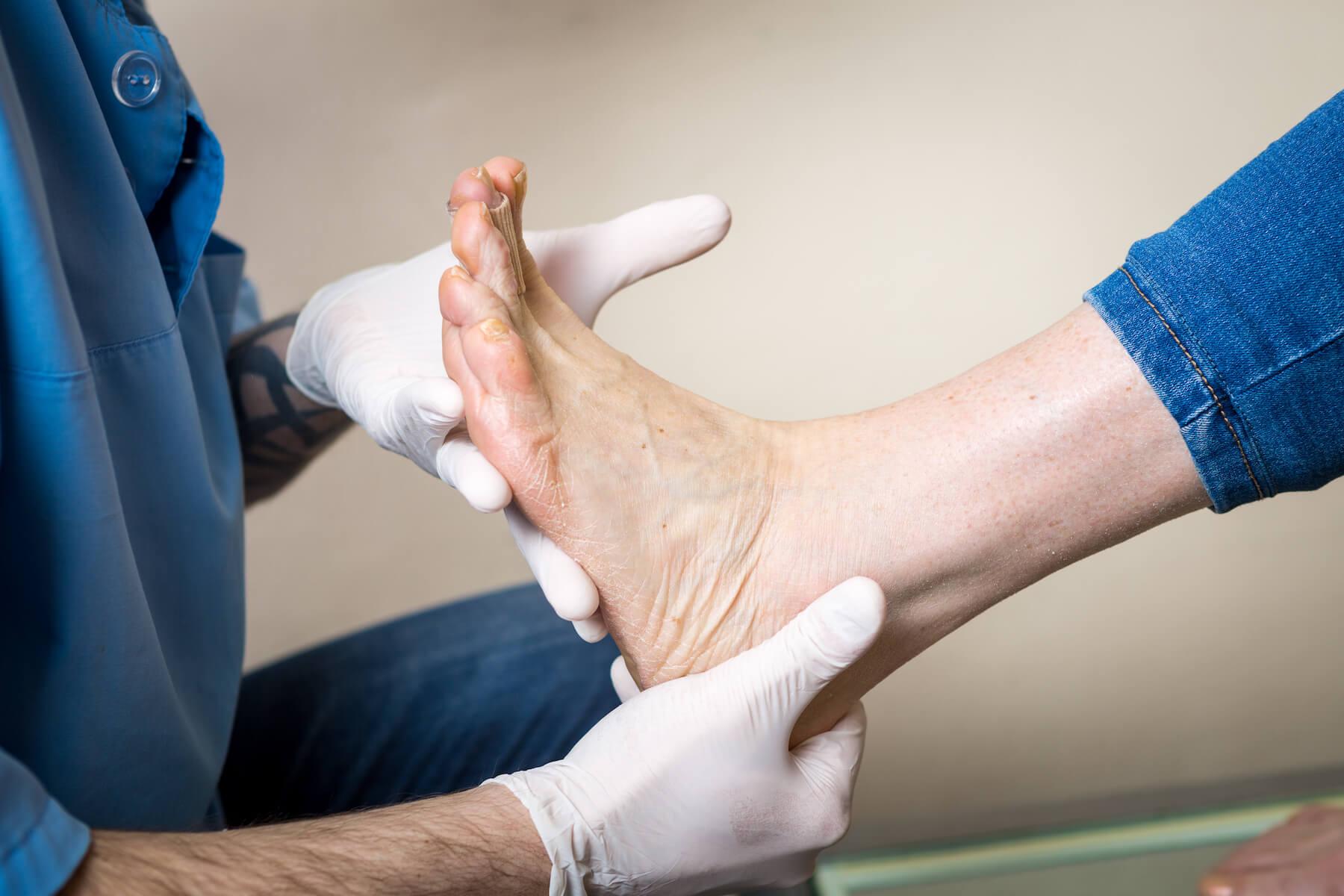 Checking foot